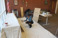 Prepping the canvas for the Art & Poetry Workshops